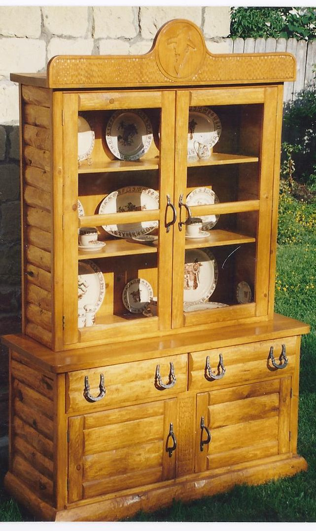 COWBOY WESTERN LODGE STYLE LOG CHINA CABINET- BOOK CASE   T-M ...