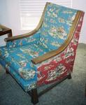 A. BRANDT RANCH OAK ARM CHAIR W/COWBOY UPHOLSTERY-IN TX