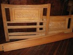 A BRANDT RANCH OAK TWIN BED, CARVED DESERT SCENERY
