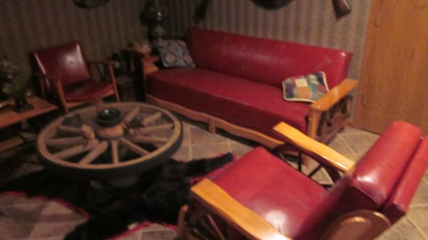 Better picture of the red wagon wheel couch set