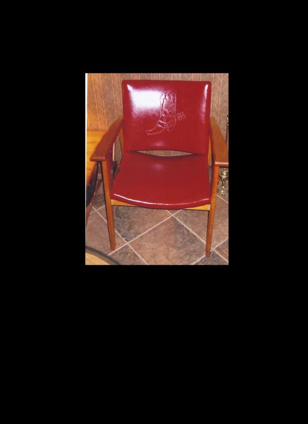 Side chair with boot motif