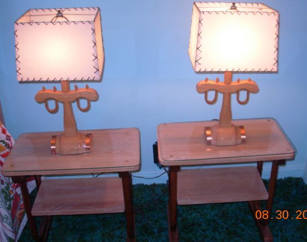 Fabulous pair of ox yoke lamps and original laced shades.  So hard to find!