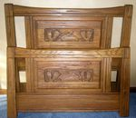 A. BRANDT RANCH OAK CARVED TWIN BEDS - ACORN - IN OK