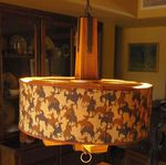 A BRANDT RANCH OAK CHANDELIER - FUN SHADE - 1950'S