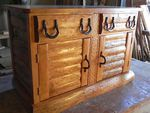 RUSTIC LOG SIDEBOARD - CHIP CARVED-HORSESHOE HARDWARE