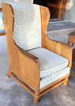 A BRANDT RANCH OAK ARM CHAIR-TALL WING BACK - LIGHT