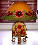 CHILI LAMP AND HAND PAINTED LAMPSHADE