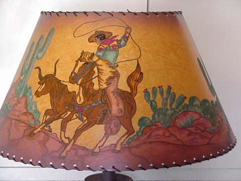 Hand painted cowboy lampshade cowboy classics this lampshade has so much action and color just the perfect cowboy lampshade mozeypictures Gallery