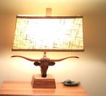 A BRANDT RANCH OAK LONGHORN LAMP - 17