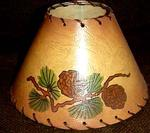 HAND PAINTED CHANDELIER SHADE, PINE CONE