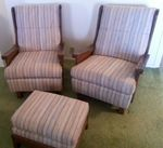 A BRANDT RANCH OAK 2  LARGE CHAIRS - OTTOMAN - IN TX