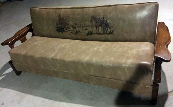 Cowboy Western Ox Yoke Couch Set Great Graphics In Co