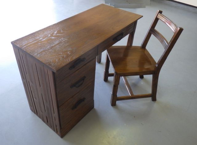 A. BRANDT RANCH OAK LEFT HAND DESK AND CHAIR