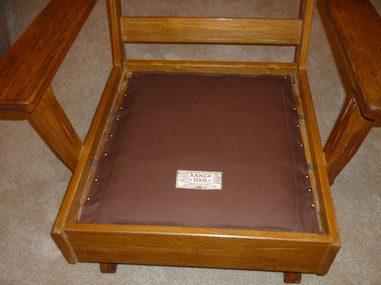 SPRING COVER WITH RANCH OAK LABEL OF A. BRANDT RANCH OAK PLATFORM ROCKER