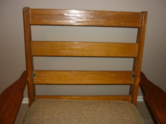 FRONT VIEW OF BACK W/O CUSHION OF A. BRANDT RANCH OAK PLATFORM ROCKER