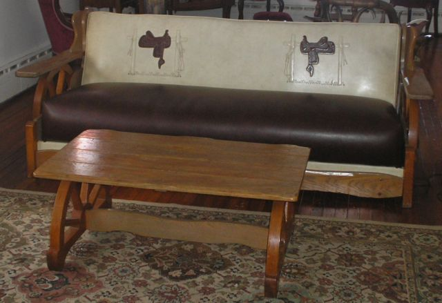 COWBOY WESTERN WAGON WHEEL COFFEE TABLE AND CLOSE UP OF SOFA