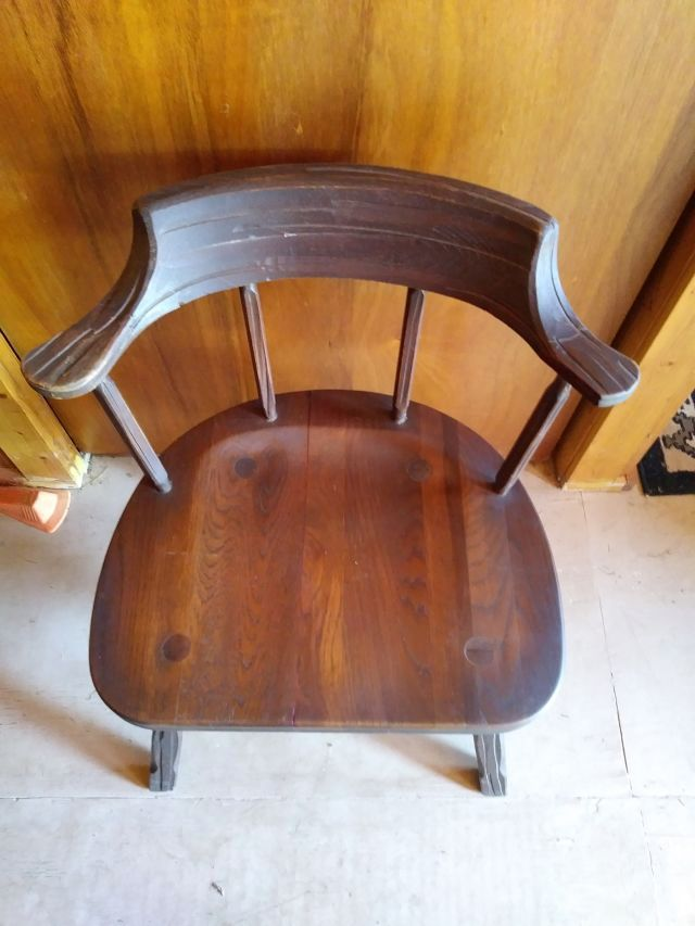 A. BRANDT RANCH OAK MATE CHAIR NO. 4 WITH REPAIR TO LEFT ARM  EXTENSION