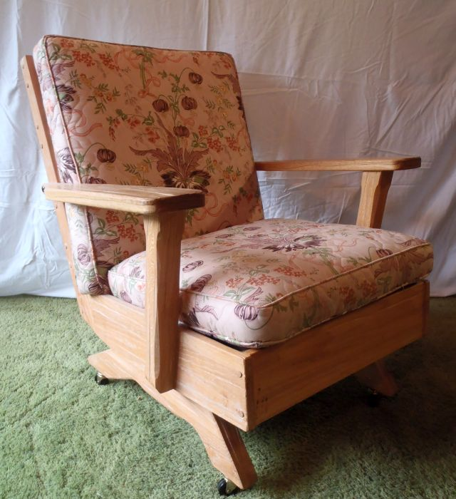 A. Brandt Ranch Oak Platform Rocker with casters-profile view
