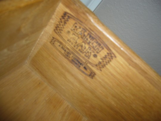 A. Brandt Ranch Oak top drawer with brand