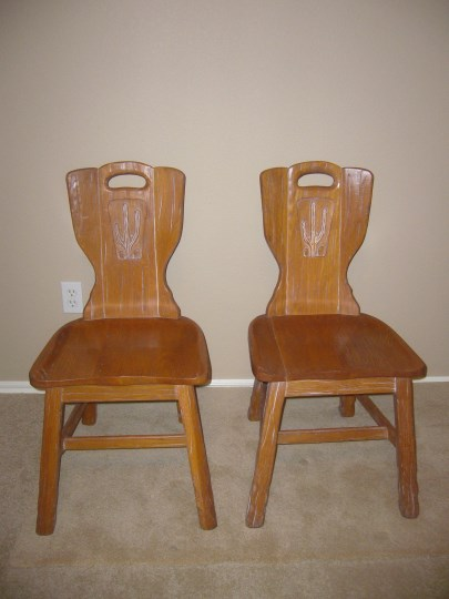 PAIR OF A. BRANDT RANCH OAK CACTUS CARVED CHAIRS