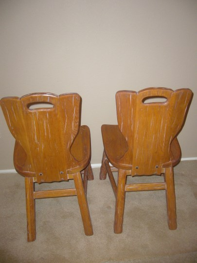 BACK VIEW OF PAIR OF A. BRANDT RANCH OAK CACTUS CARVED CHAIRS