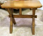 A. BRANDT RANCH OAK PAIR OF SAWBUCK END TABLES - ND