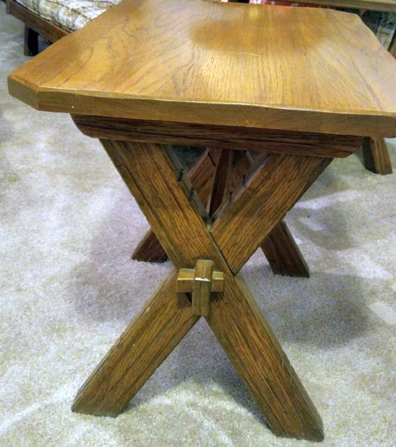 A. BRANDT RANCH OAK SAWBUCK END TABLE FRONT VIEW