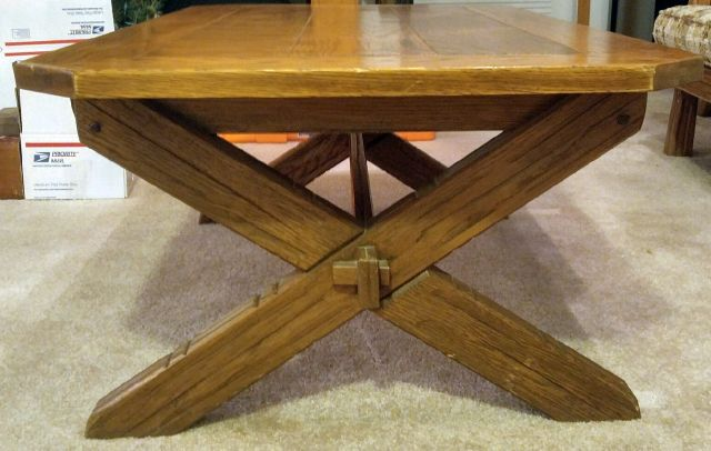 A. BRANDT RANCH OAK SAWBUCK COFFEE TABLE-SIDE VIEW