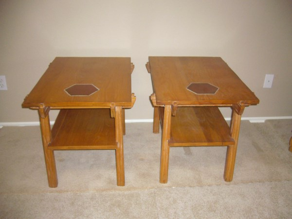 A. BRANDT RANCH OAK PAIR OF END TABLES W/TILE INSERT AND SHELF