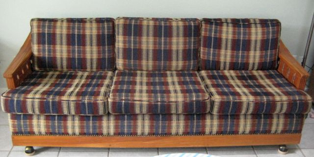 A. BRANDT RANCH OAK SOFA W/WOVEN WOOD SIDES AND CASTERS