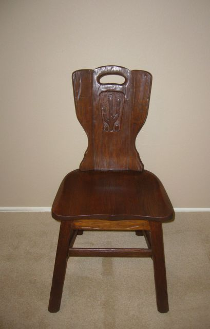 A. BRANDT RANCH OAK CACTUS CARVED SIDE CHAIR-TUDOR OAK FINISH