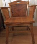 A. BRANDT RANCH OAK ARM CHAIR W/LONGHORN BACK - IN TN