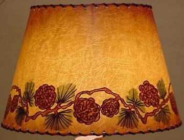 Joan lagoy hand painted pinecone lampshade cowboy classics joan lagoy hand painted pinecone lampshade mozeypictures Image collections