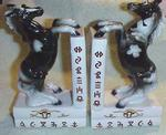 FRED ROBERTS  CHINA HORSE BOOKENDS, 1950's